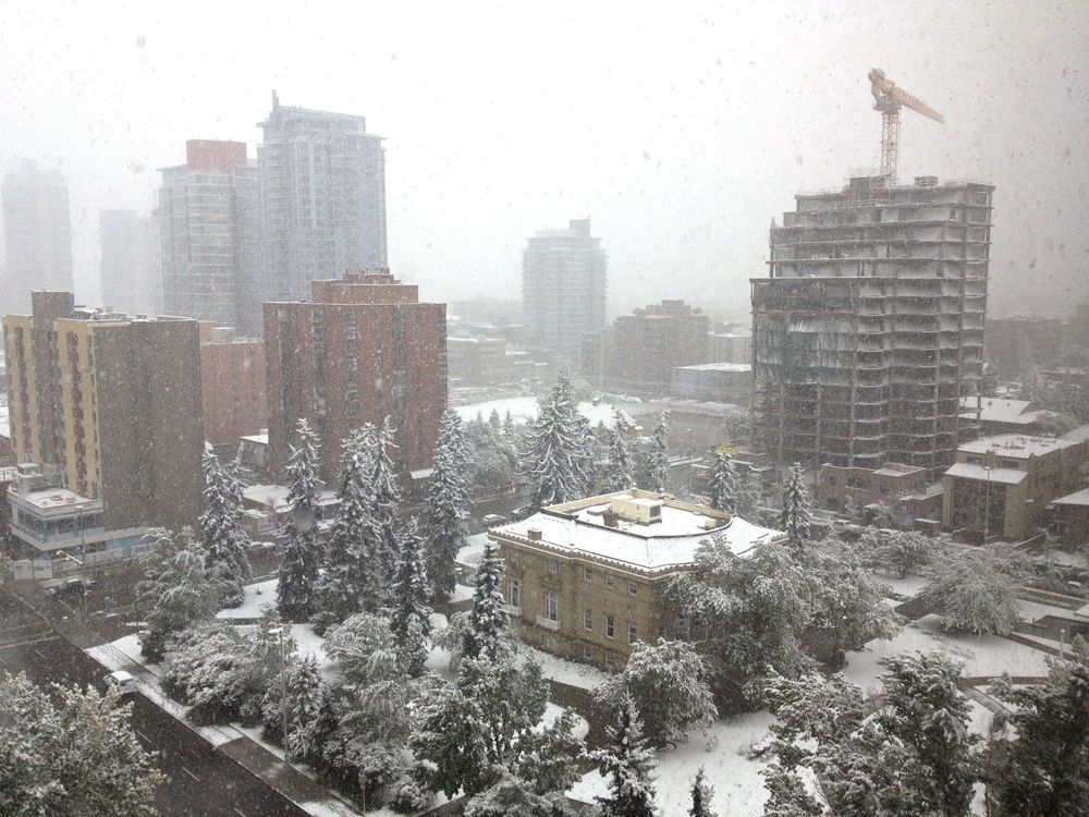 Snowfall, from the 11th floor office I work at.