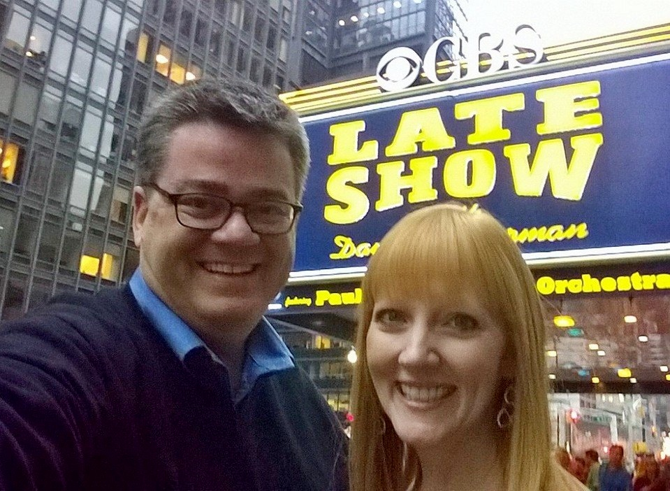 "Scott Sewell and Amy Sewell at ""Late Show"""