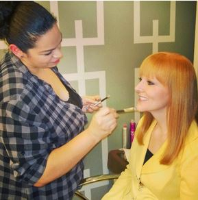 "Amy Sewell in makeup at ""The Better Show."""