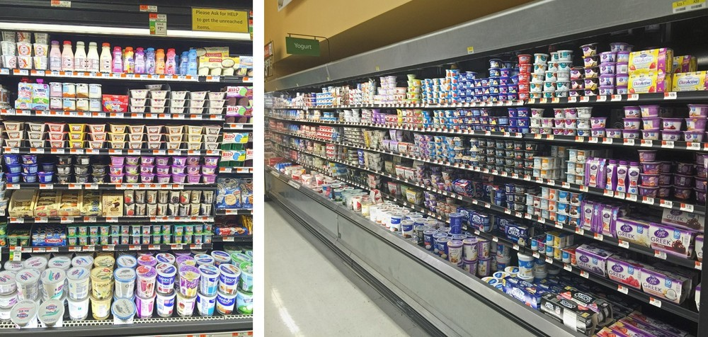 Yogurt selection at C-Town in Manhattan vs. your typical Walmart Supercenter