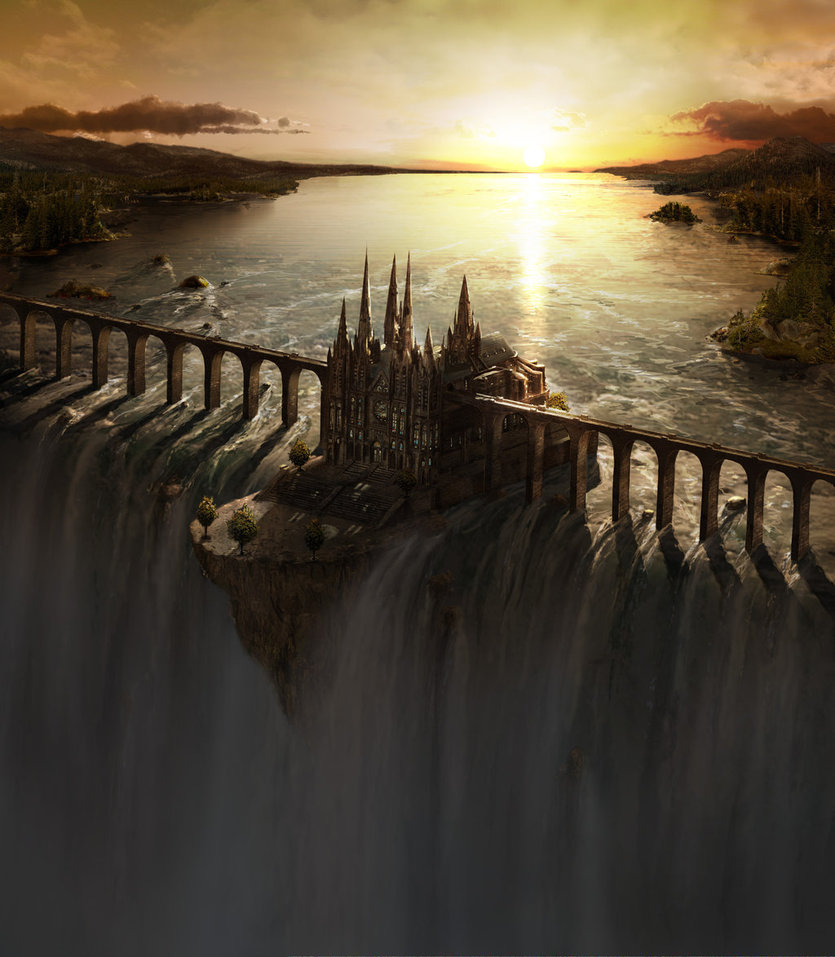 Waterfall_Castle_matte_art_by_fstarno