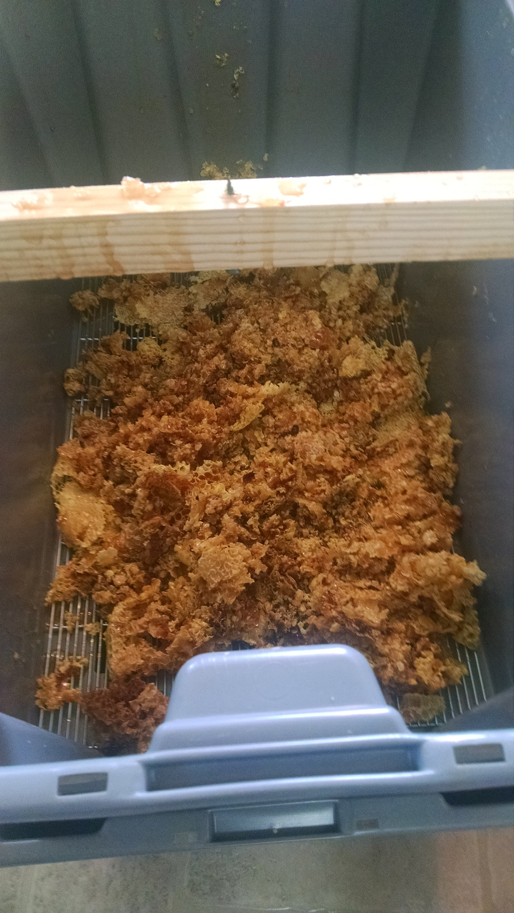 All the honey dripping out of the wax cappings. Saved a good two pounds of honey this way!