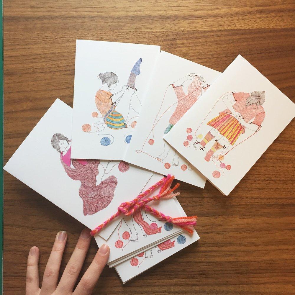 """10 card """"Knitster Girl"""" pack"""