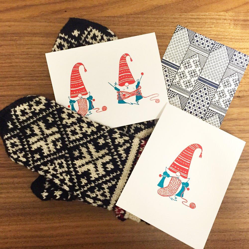 Knitting Gnome greeting cards & Interlocking Mitterns postcard