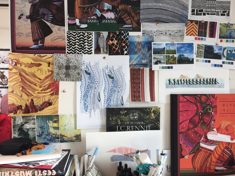 Studio space board of inspiration and sketches photo taken by Aleks Byrd 2017.