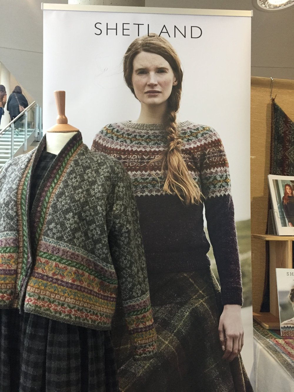 Items from Marie Wallin Designs latest collection  Shetland photo taken by Aleks Byrd  at Nottingham Yarn Expo 2017