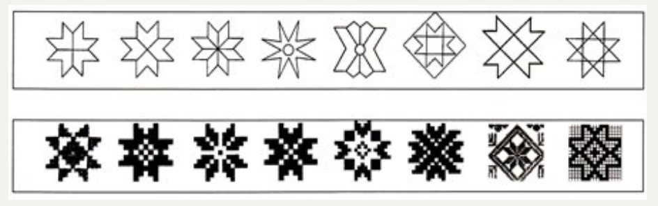 Display of eight point star variations ( Saarso).