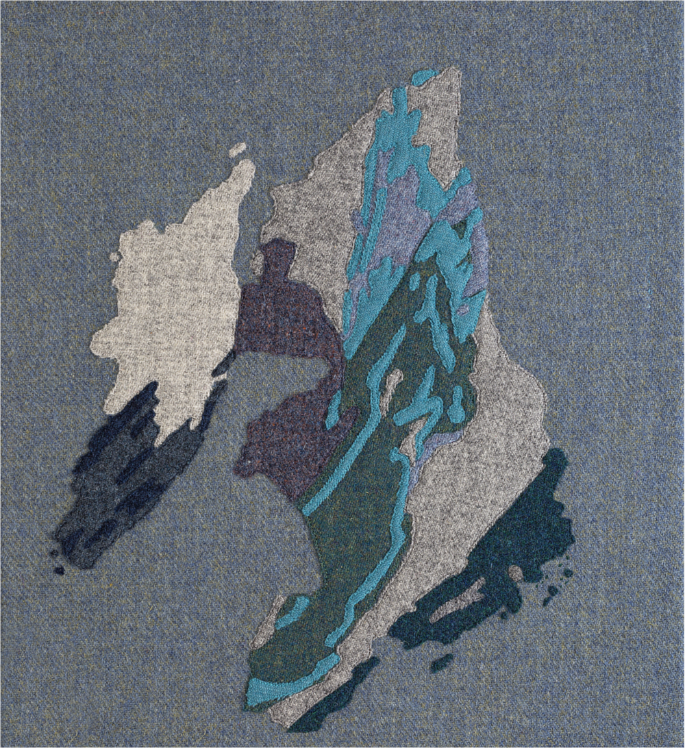 Stitched geological maps of Islay created by Jane Hunter for the book   Inspire by Islay   by Kate Davies