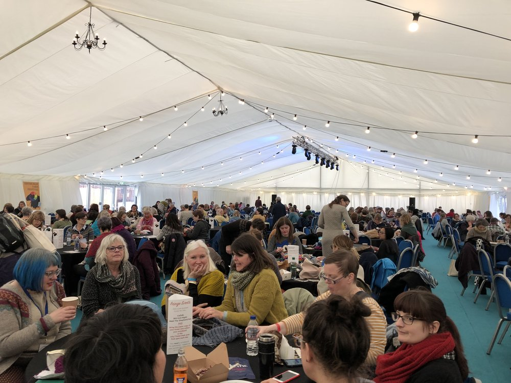 Marquee tent full of knitters