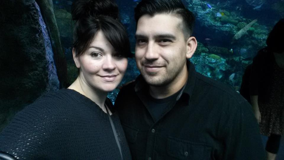 R+G || 2013 || iphone4 for sure #bangs and you still have that shirt!  Dear G,  We were so young and smitten. This photo was a couple days before we were going to tell everyone we were pregnant with Maxen. We were standing under the tank at the  Aquarium of the Pacific  in Long Beach, CA with Hunter and my parents. We walked the Queen Mary hand in hand like Jack & Rose (gawd we are so gross in love sometimes), got legit frozen in a giant ice sculpture exhibit and Hunter got to go ice skating. It was a great weekend. Every-time you touched my belly I felt us dive deeper into our connection. I had the most beautiful time being pregnant with you. It was the second longest secret I have ever held in my life btw! The first was holding onto the words  I love you . It was the perfect moment when it happened tho. Viva Las Vegas was always lucky for us. But I knew I had to hold onto those words for as long as possible, so they would mean everything they were meant to mean. Thinking about how we got here is so rad. I love loving you.  Love,  R<3