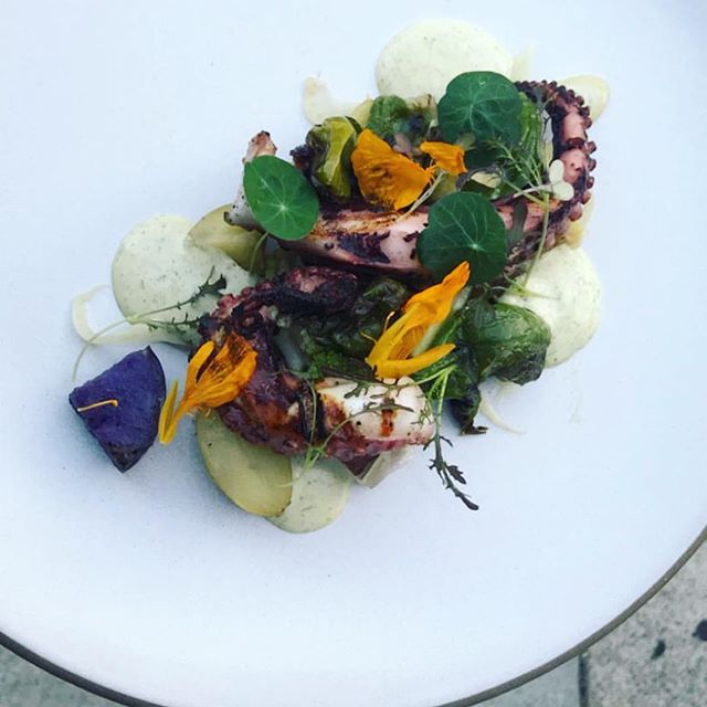 Octopus/padron/potato/fennel/romanesco/ charred garlic scape dip @sandyland_eats nice shot from last night!