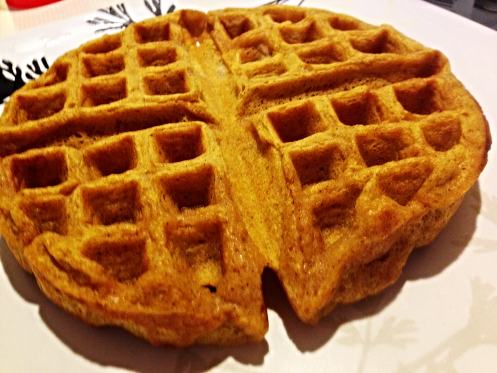 I made pumpkin pie waffles Sunday morning. Pumpkin is definitely the flavor of autumn.