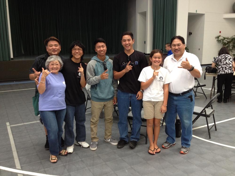 From left to right: Reverend Bruce Nakamura, Dharma School teacher Betty Takeoka, and quiz bowl participants Trent Terada, Kelsey Katayama, Michael Gusman, Mana Alspach and Daren Katayama.