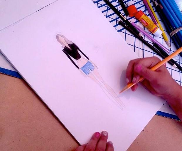 Sketching before sewing!