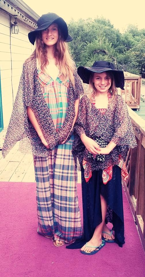 Floppy hats & vintage kimono blouse. Handmade by YOU!