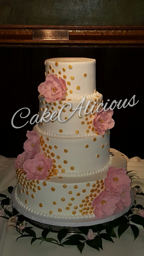 Gold Shimmery Dots with Pink Flower Accents.JPG