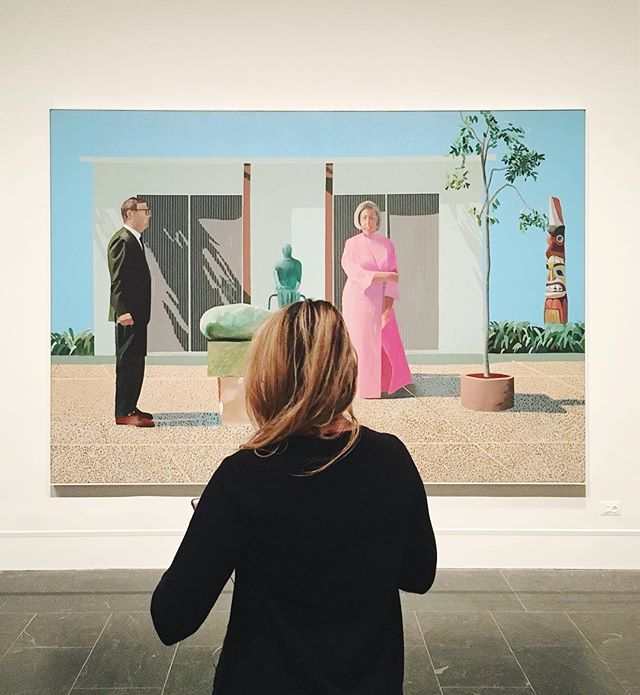 This is probably my favorite painting ever. It belongs to the @artinstitutechi where I've been to visit it many times. But today it's @metmuseum, part of the #hockney retrospective, a must see. I'm not an emotional person, by any stretch, but art has the power to get me like nothing else. I walked into the second room of this exhibit and instantly started balling. The fact that one human created these things, these paintings, that have so much emotional resonance is just too much for me to handle sometimes. 😂 #PeopleIDontKnowAndArt