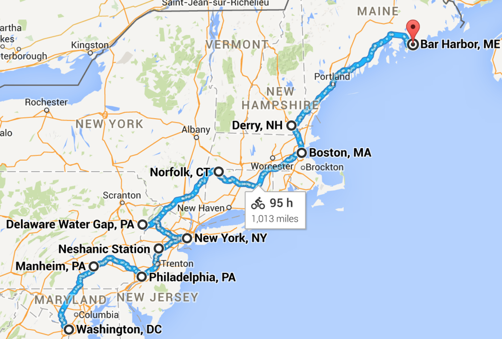Phase 3: Washington, DC to Bar Harbor, ME