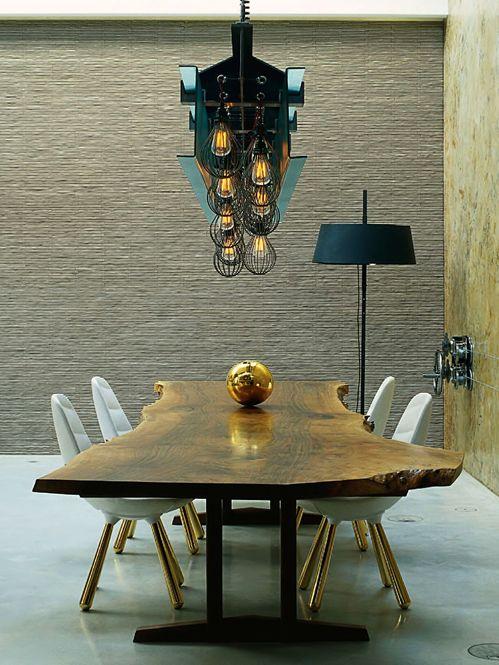 Solid Wood Dining Table Metal Legs / Herman Furniture Singapore