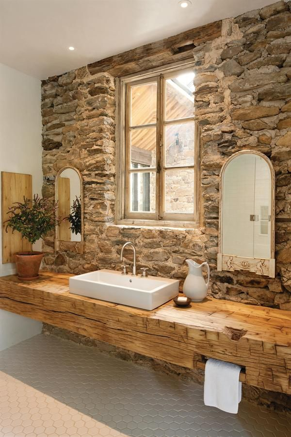 Solid Wood Sink Feature Brick Wall / Herman Furniture Singapore