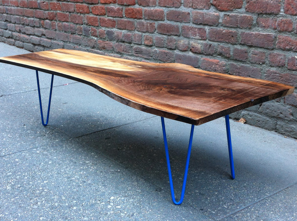 Thin Wood Blue Hook Legs Coffee Table / Herman Furniture Singapore