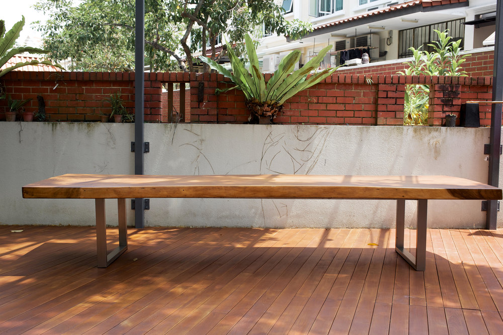 Outdoor Suar Wood Table with Stainless Steel // Herman Furniture Singapore.jpg