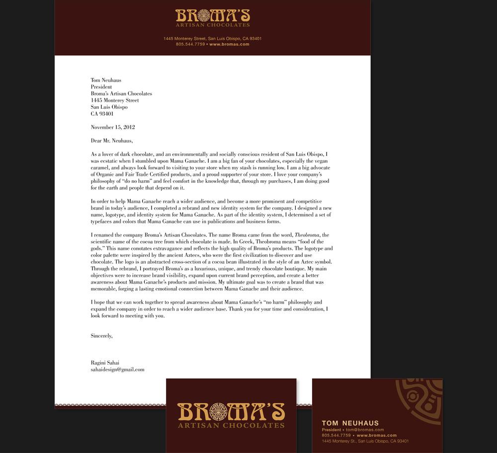 Broma's Artisan Chocolates Letterhead