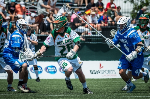 Action from Ireland v Israel at the World Lacrosse Championships