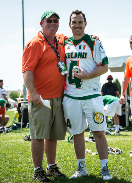 Make McTernan who won The Physio Company's MVP award being presented with the match ball by Ireland coach Tom Prior.