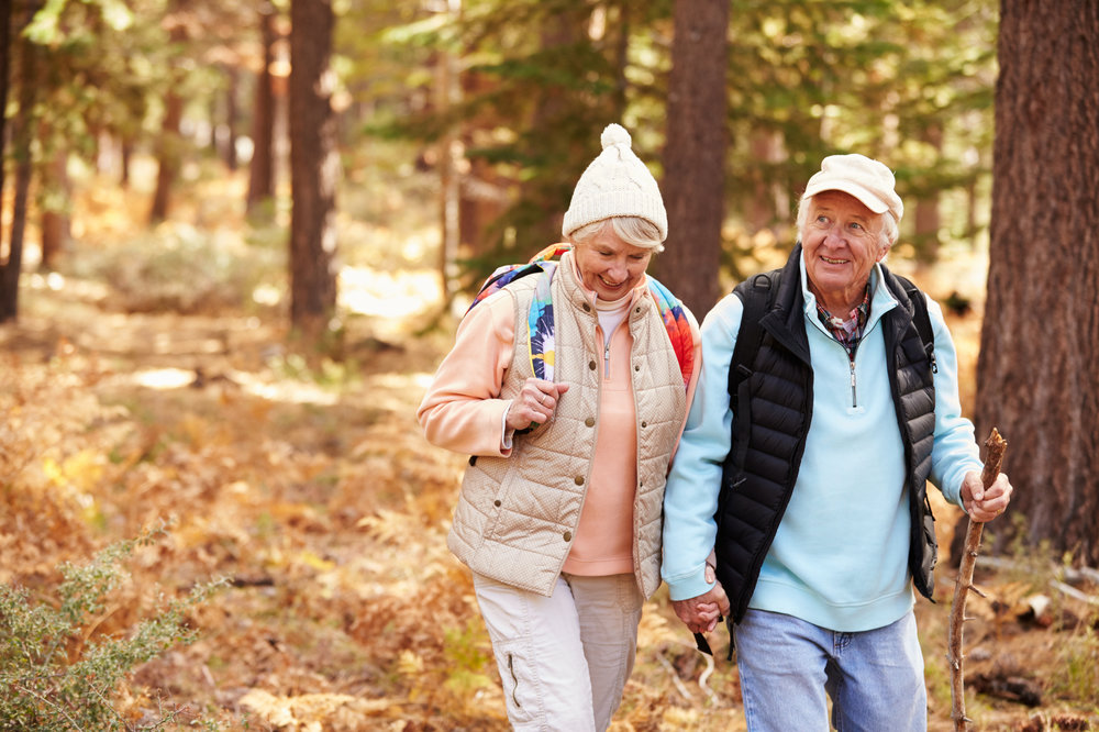 Elderly couple walking through forest