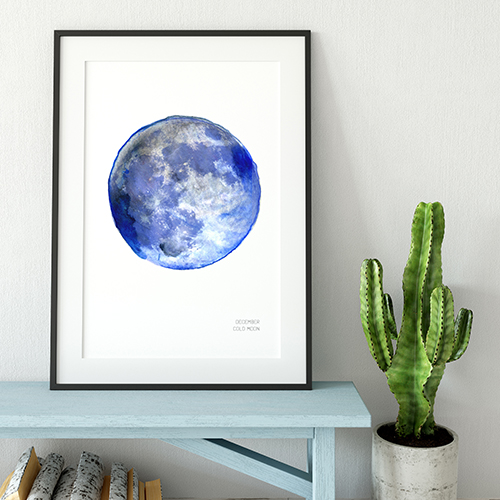 Drawn Together Art Collective Art Prints December Cold Moon Art Print Frame.jpg