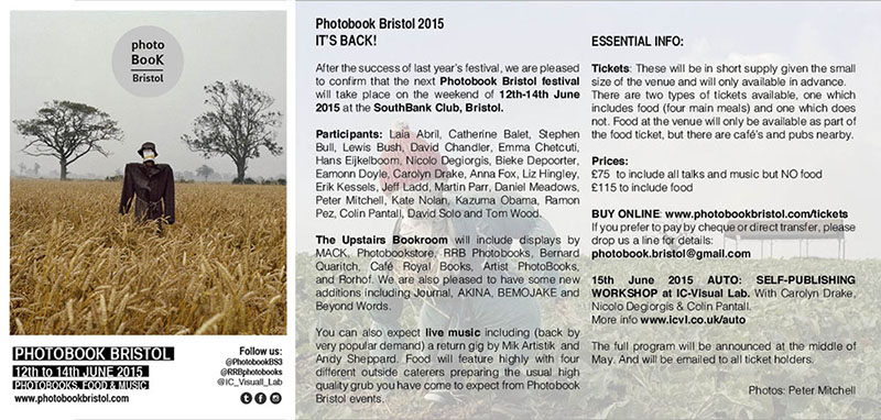 Photobook Bristol  -  12th - 14th June 2015. I'll be talking about the process of creating Neither.