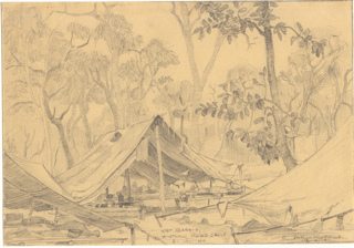 Ray's tent - if it can be called that - in Hintok Mountain camp. The wet season in January 1944.