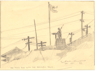 Japanese POW mining camp at Ohama on the main island 1945  Ray Parkin and Charles Edwards were there for the last year of the war.  There they saw the Nagasaki bomb mushroom. Petty Officer Ray Parkin drew this at the end of the war, completing it in the weeks he spent waiting to be repatriated.