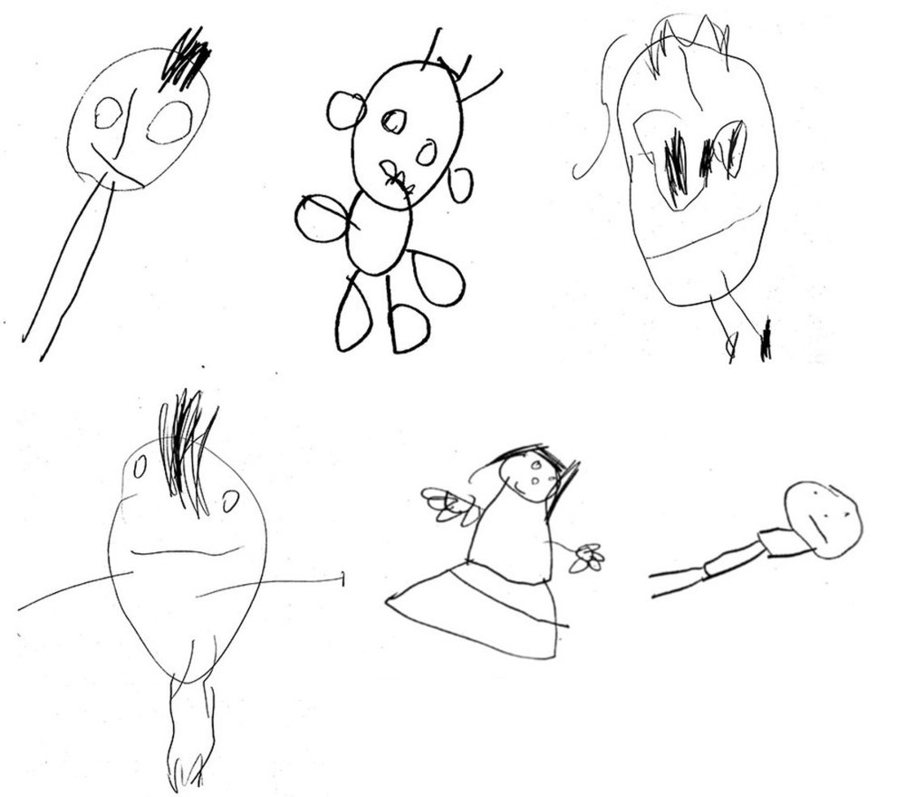 Researchers asked 4-year-olds to draw a child.Here's a small sample