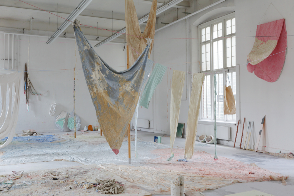 some things that still need to be said (also about how candy is made), graduationshow Fine Arts Maastricht, fabric, pigments, coloured chalk, polystyrene, rope, wood, plastic sheets, paint, candle wax, 2300x1100cm, July 2014