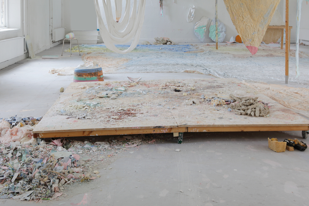 detail 'some things that still need to be said (also about how candy is made)', graduationshow Fine Arts Maastricht, fabric, pigments, coloured chalk, polystyrene, rope, wood, plastic sheets, paint, candle wax, 2300x1100cm, July 2014