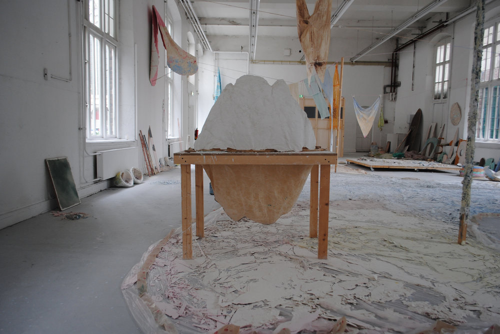 MOLDING TABLE - SOME THINGS THAT STILL NEED TO BE SAID (ALSO ABOUT HOW CANDY IS MADE) (DETAIL) - soap, plastic, coloured chalk, textiles, wax, wood, polystyrene, rope, pigments, 2400 x 1100 cm, graduationshow Maastricht Academy of Fine Arts and Design, 2014