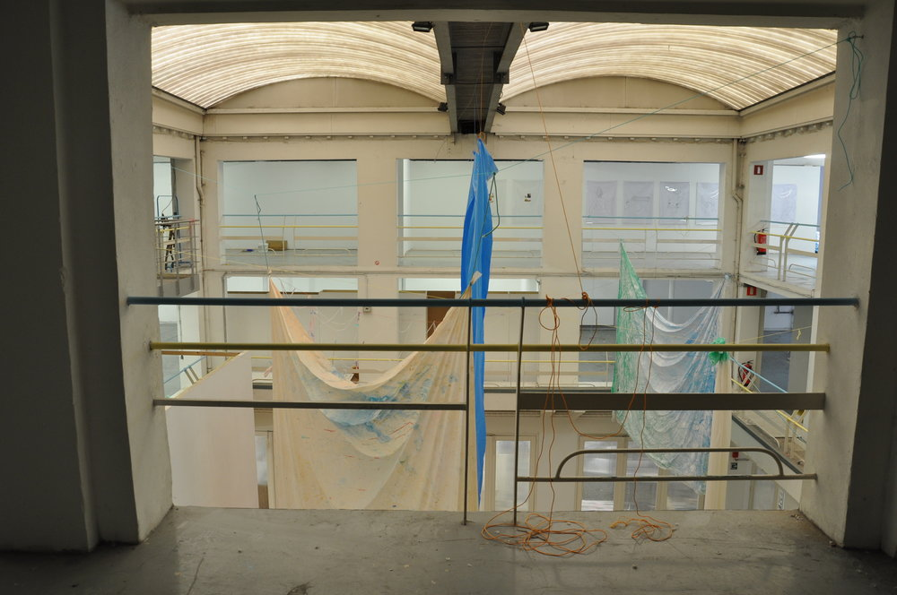 SKINS AND SHEETS, plastic sheets, pigments, paint, rope, wood, 20 x 20 x 20m, Sint Lucas Antwerp, 2016