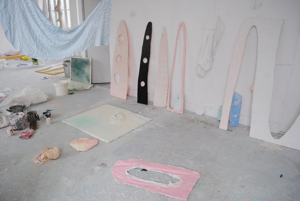 Studio view 2014: Textiles, wood, plaster, pigments, chalks, wax, plastic, soap, polystyrene, 300 x 200 cm, Maastricht 2014