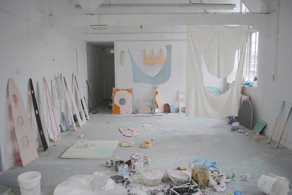 Studio view 2014: Textiles, wood, plaster, pigments, chalks, wax, plastic, soap, polystyrene, 500 x 350 cm, Maastricht 2014