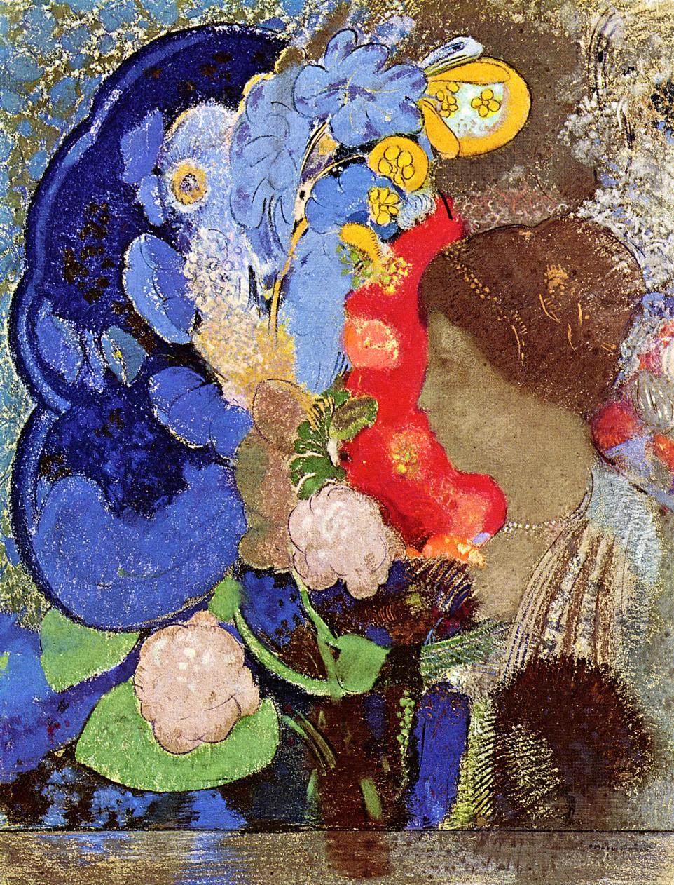 woman with flowers - odilon redon 1903