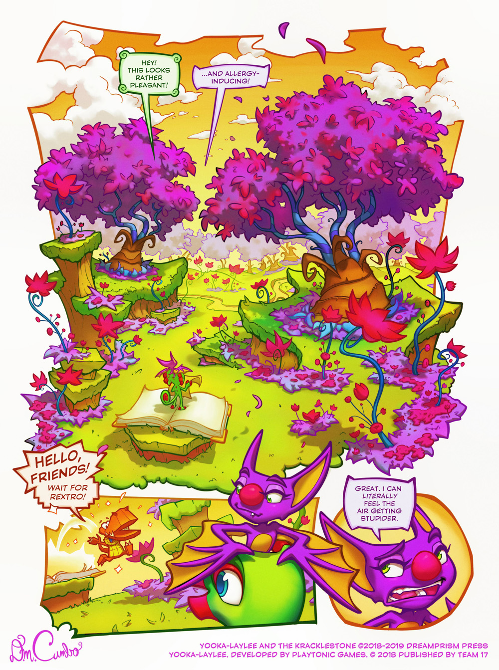 Yooka and Laylee enter Plum Pedal Meadow.