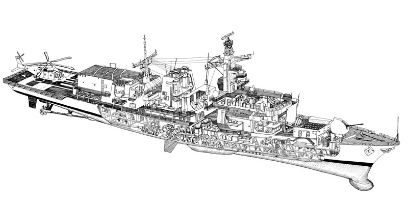 Exploded diagram - Frigate Ship