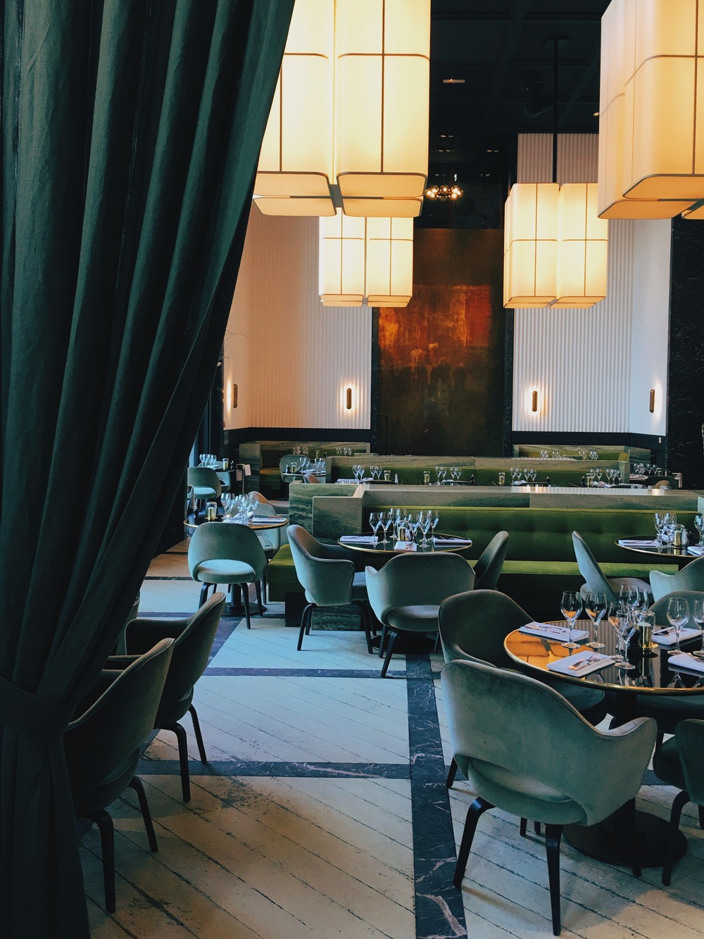The inspiring green colour scheme at  Monsieur Bleu  (with the best view of the Eiffel Tower)