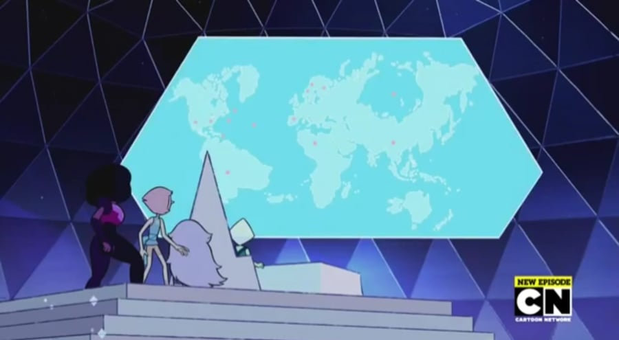 "An alternate history map of the Earth from the Steven Universe episode ""It Could've Been Great."" Notice anything different about our planet?"