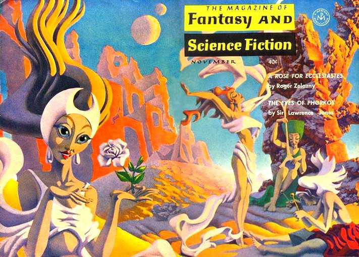 "The wraparound cover of the November 1963 Magazine of Fantasy and Science Fiction, one of the covers I remember from my grandfather's collection. The art by Hannes Bok illustrated ""A Rose for Ecclesiastes"" by Roger Zelazny."