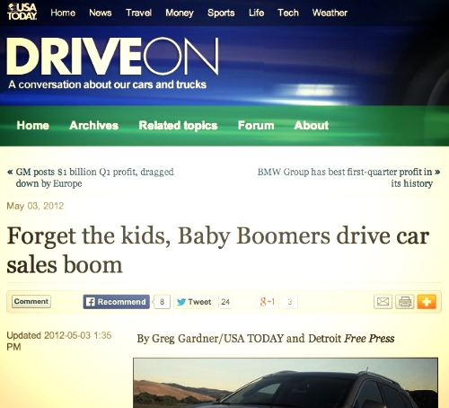 Baby Boomers already buy more new cars than any other age group.