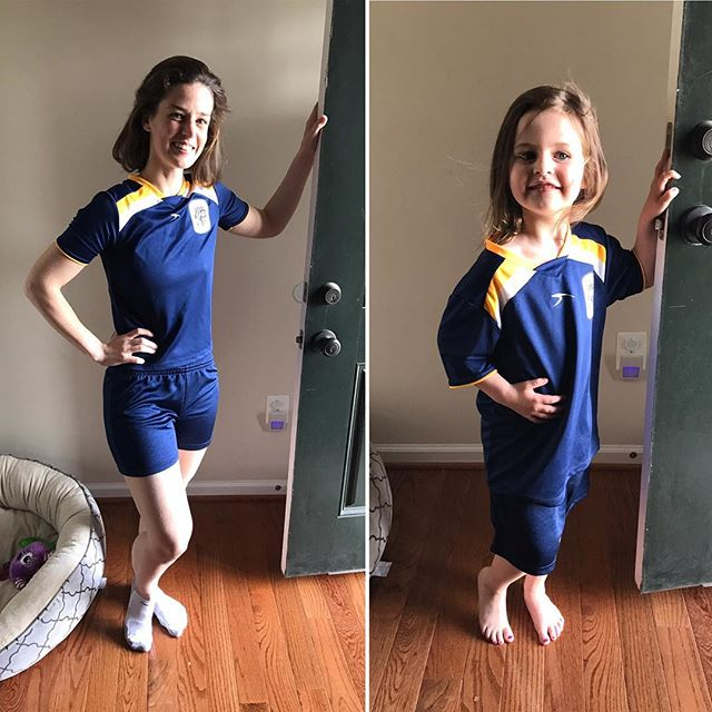 That moment your #wife realizes she can wear your daughter's #soccer #uniform @compellingperspective #whoworeitbetter