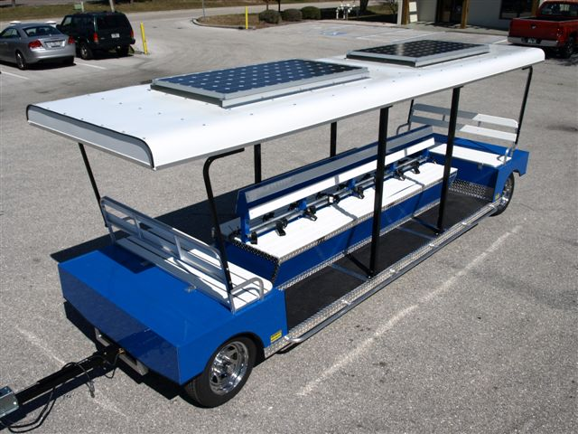 14 passenger outward facing solar trailer.
